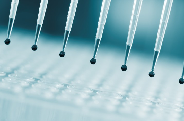 Sampling multipipette in biochemical laboratory © science photo