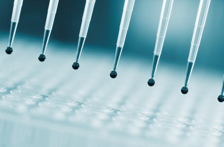 Sampling multipipette in biochemical laboratory © science photo